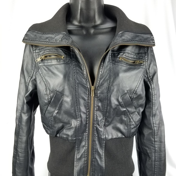 07a65f7de Ambiance Apparel Bomber Faux Leather Jacket Small